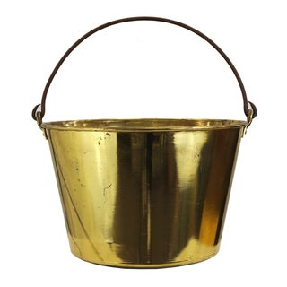 Vintage Brass Bucket with Wrought Iron Handle