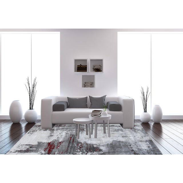 "Contemporary Gray & Red Abstract Rug - 6'7"" x 9'7"" - Image 8 of 8"