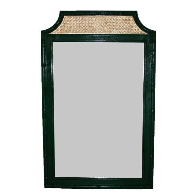 Vintage Green & Gold Faux-Bamboo Mirror - Image 1 of 5