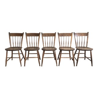 Nichols & Stone Thumb Back Maple Windsor Chairs - Set of 5