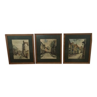 Antique Framed and Matted Dutch Artist Johannes Korthals Signed Watercolor European Cityscape Prints-Set of 3