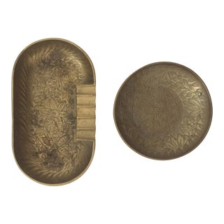 Vintage Etched Brass Oval & Round Ashtrays - A Pair