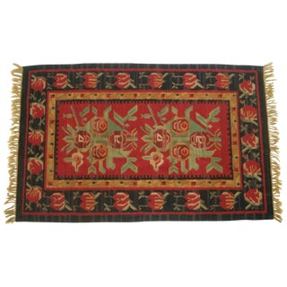 Vintage Flat-Weave Red Tribal Rug - 3′2″ × 5′4″