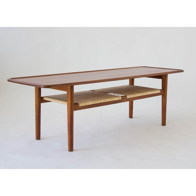 Image of Hans Wegner AT-10 Coffee Table with Cane Shelf