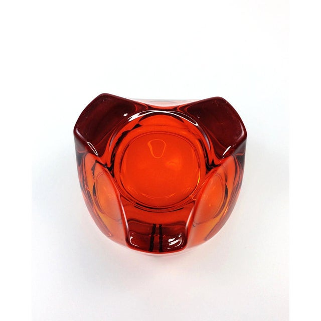 Image of Mid Century Viking Art Glass Orange Orb Ashtray