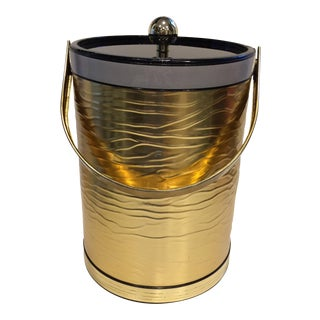 Vintage Hollywood Regency Gold & Smokey Black Acrylic Ice Bucket