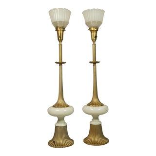 Tall Brass & Milk Glass Lamps - A Pair