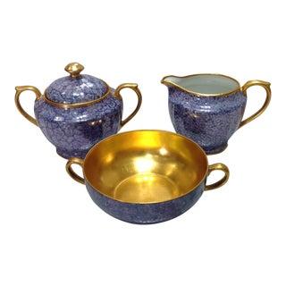 1930s Pickard China Blue & Gold Condiment Set - S/3
