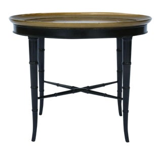 Kittinger Faux Bamboo Ebonized & Gilt Oval Coffee Table