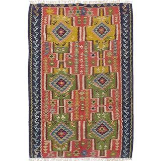 "Vintage Persian Handmade Senneh Kilim Rug- 3'7"" x 5'4"""