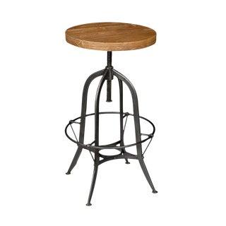 Iron & Wood Round Bar Stool