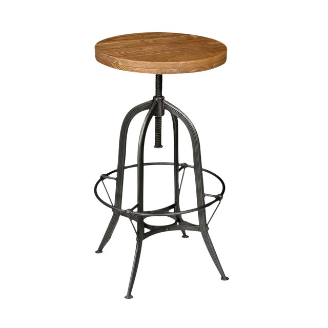 Iron & Wood Round Bar Stool - Image 1 of 2