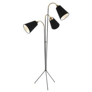 Iron Brass and Linen Tripod Floor Lamp