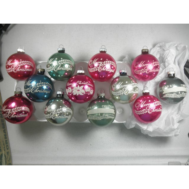 Merry christmas stencil ornaments set of 12 chairish for Outdoor merry christmas ornaments