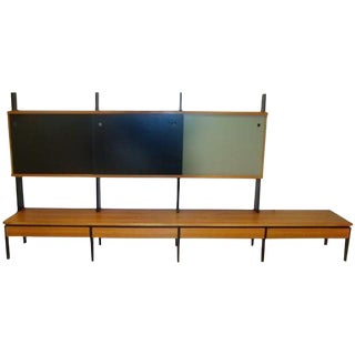 Long Mid Century Wall Unit in European Birch and Lacquer
