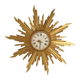 Circa 1890 French Water Gilded Sunburst Clock