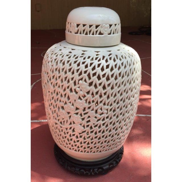 Image of White Porcelain Pierced Design Ginger Jar