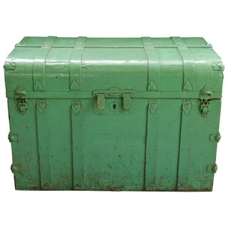 Vintage Sea Green Metal Trunk