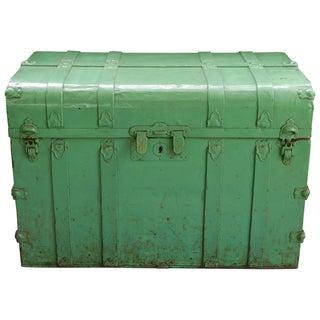 Vintage Sea Green Metal Trunk