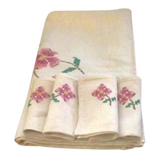 Vintage Cross-Stitch Linen Tablecloth and 4 Napkins