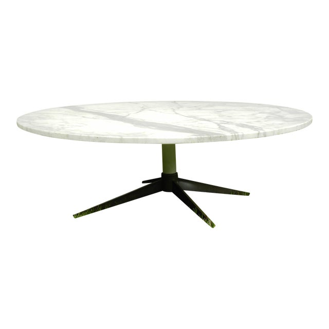 Mid Century Modern Marble Table: Mid-Century Modern White Marble Coffee Table