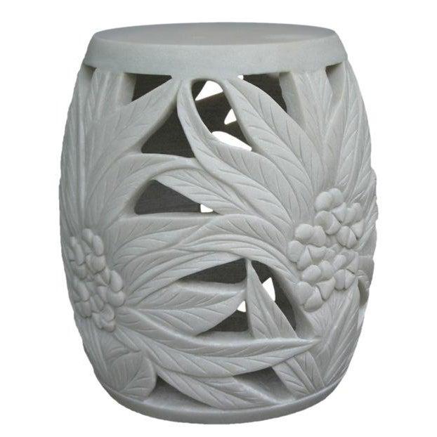 Image of Turkish White Marble Frangipani Garden Stool