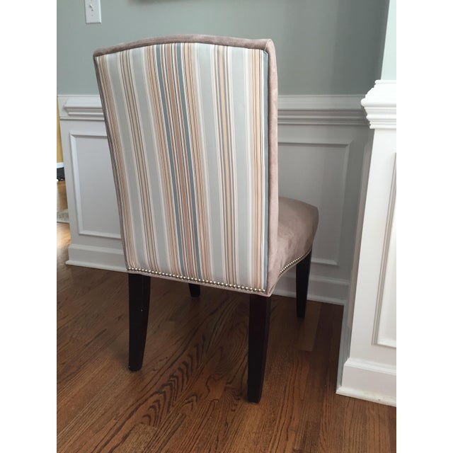 Lee Industries Upholstered Dining Chairs With Accent Fabric on Back - Set of 4 - Image 10 of 12