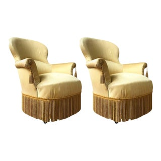 Pair of Large Napoleon III Armchairs in Yellow Fabric