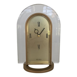 Vintage Seiko Lucite & Gold Tabletop Alarm Clock