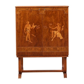 Swedish Grace Inlaid Cabinet by Mjölby. Ca 1940