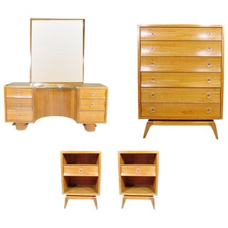 Paul Frankl Rare Four-Piece Bedroom Set for Brown Saltman