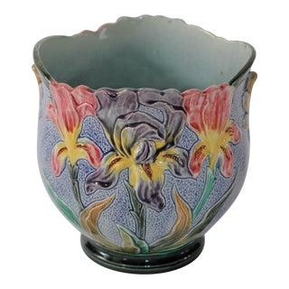 Vintage Floral Majolica Ceramic Cachepot Jardiniere Planter