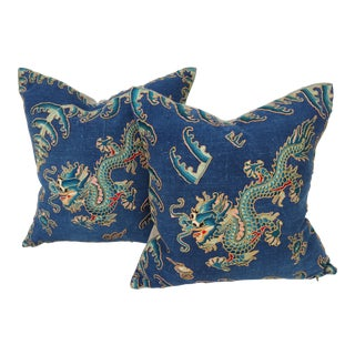 Chinese Micro Embroidered Dragon Pillows - A Pair