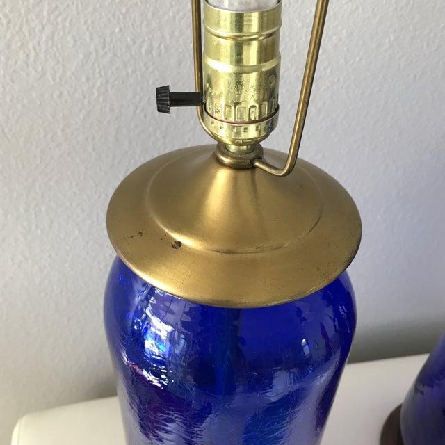 Blenko Mid-Century Cobalt Crackle Lamps - A Pair - Image 7 of 8