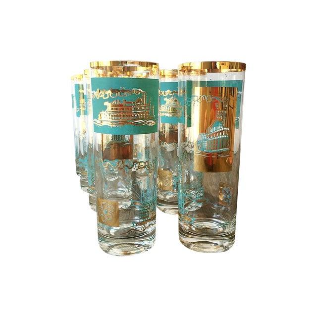 50s Mid Century Steamboat Highball Glasses - Set/8 - Image 1 of 7