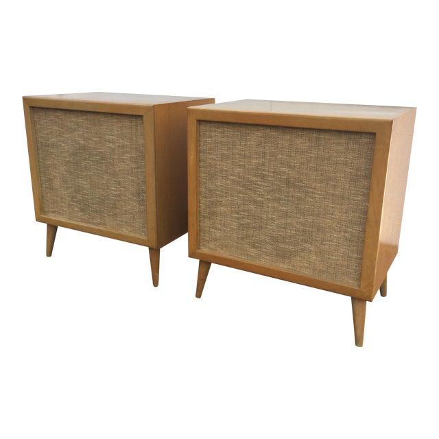 Mid Century Modern Speakers Birch Wood Cabinets Chairish