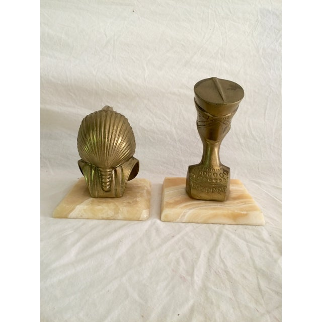 Brass Nefertiti and King Tut Sculptures - A Pair - Image 6 of 6