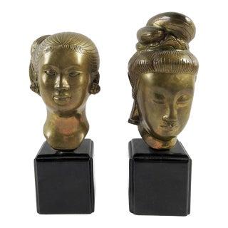 Asian Brass Sculpture Busts - A Pair