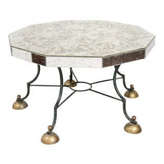 Art Deco Mirrored Coffee Table With Leaf Motif
