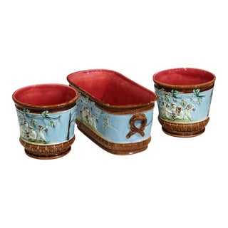 19th Century French Hand-Painted Barbotine Jardiniere & Cachepots - Set of 3