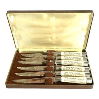Vintage Faux-Ivory Steak Knives - Set of 6
