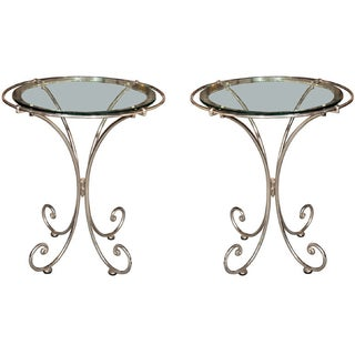 Metal Glass Top End Tables - A Pair
