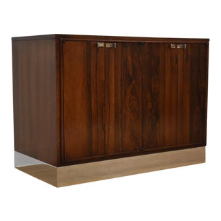 Rosewood, Walnut, and Brass Chrome Bar Credenza