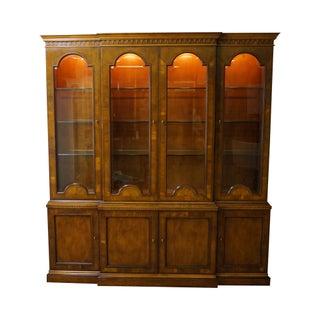 Henredon Large Inlaid Yew Wood Breakfront Bookcase