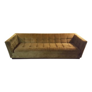 Vintage Mid-Century Yellow Velveted Tufted Sofa