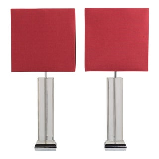 A Large Pair of Lucite and Chrome Table Lamps 1970s