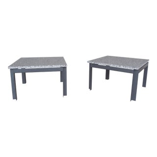 Mid Century Modern Floating Marble Top Steel Base Tables - A Pair
