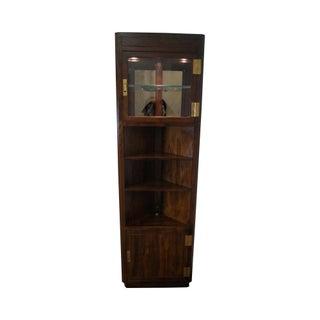 Henredon Scene One Campaign Style Corner Bookcase Curio Cabinet