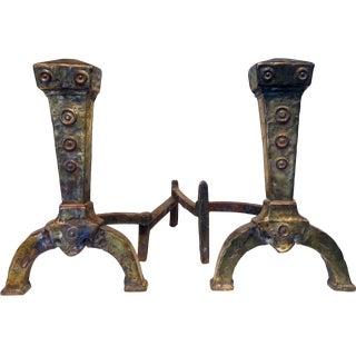 Antique Mixed Metal Brass Andirons