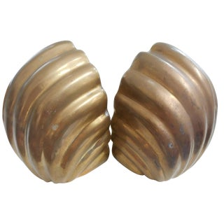 Hollywood Regency Brass Shell Bookends